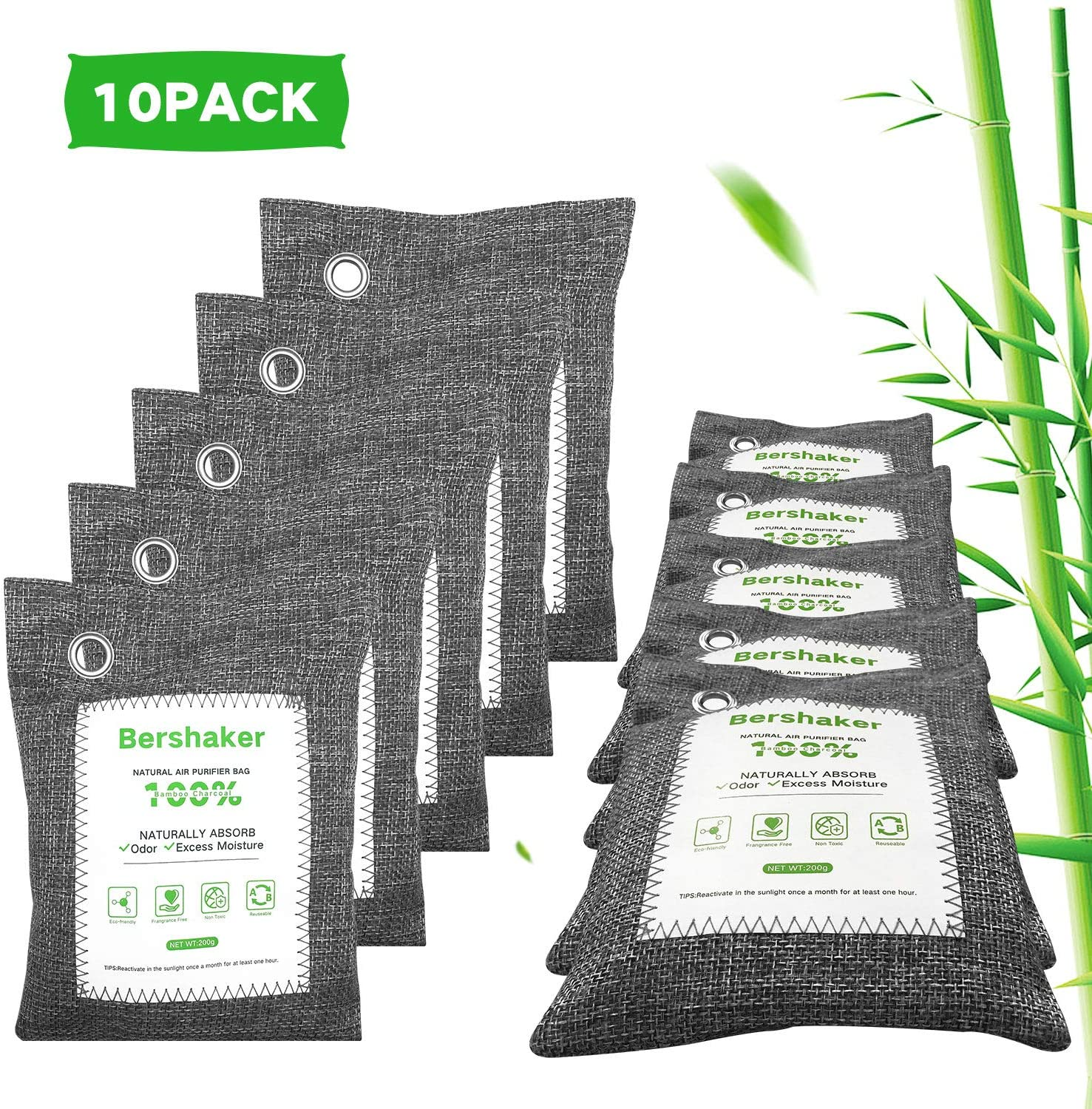 Charcoal Bags,10 Pack Bamboo Charcoal Air Purifying Bags,Breathe Green Charcoal Bags for Home,Air Freshener Bags,Activated Charcoal Odor Moisture Absorber for Home,Car,Closet,Bathroom,Basement