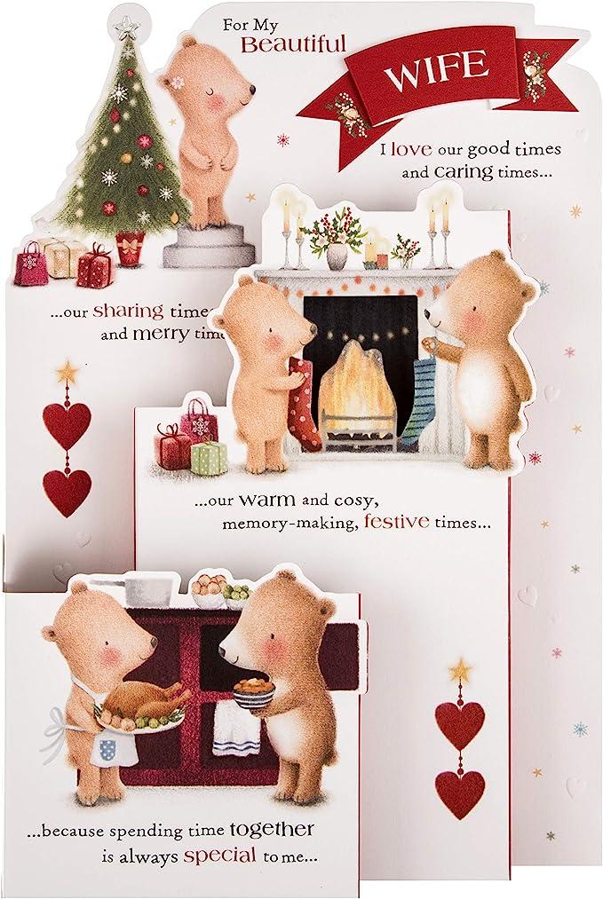 Wife at Christmas Cute Lots Of Woof Large Xmas Greetings Card
