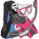 U.S. Divers Lux Platinum Snorkeling Set, Panoramic View Mask, Pivot Fins, GoPro Ready Dry Top Snorkel