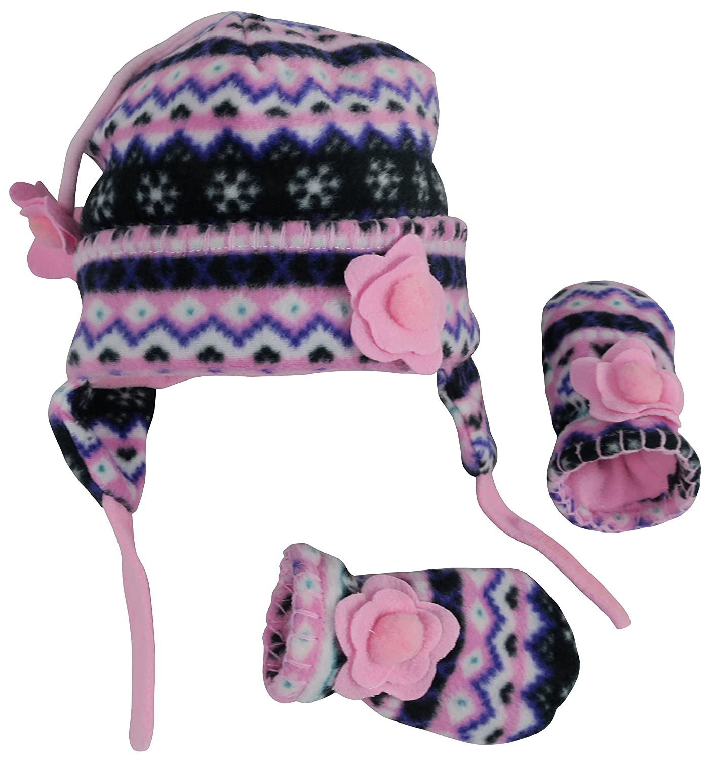 N'Ice Caps Little Girls and Baby Fair Isle Fleece Hat and Mittens Set 2401-FR