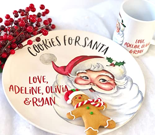 Cookies and Milk for Santa Personalized Mug for Santa Custom Coffee Mugs Christmas Gift for Dad Santa Plate and Mug Secret Santa Presents Children
