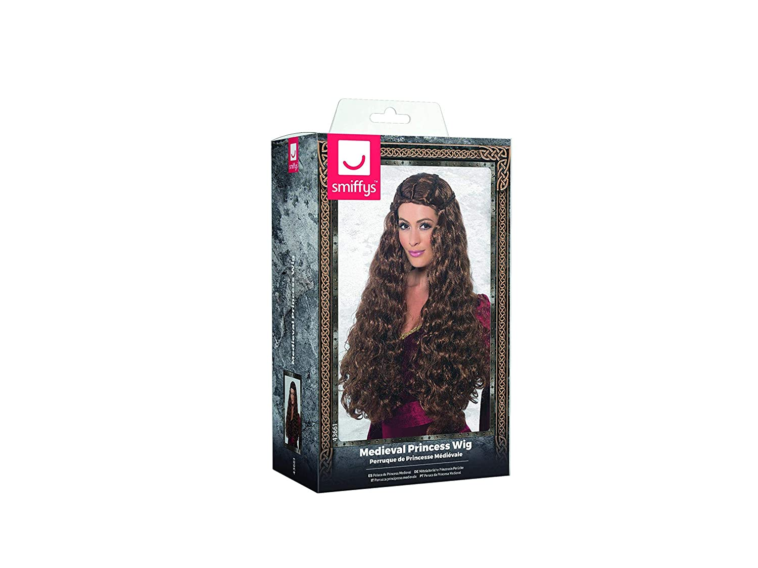 Amazon.com: Smiffys Womens Extra Long and Curly Brown Wig with Braids, One Size, Medieval Princess Wig, 43661: Clothing