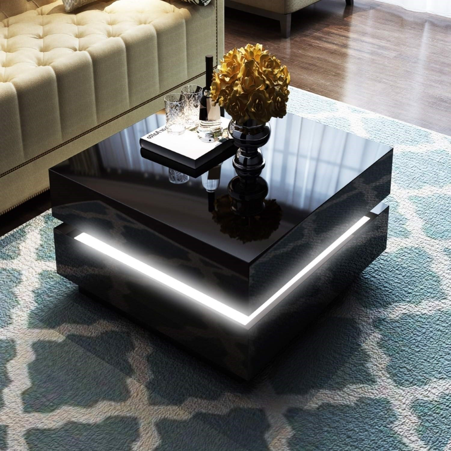 Tiffany Black High Gloss Cubic LED Coffee Table Amazon