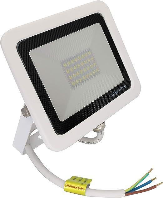 Popp PACK 2 Floodlight Led Foco Proyector Led para Exterior Iluminación Decoración 6000k luz fria Impermeable IP65 blanco con cristal opal y Resistente al agua. (30): Amazon.es: Iluminación