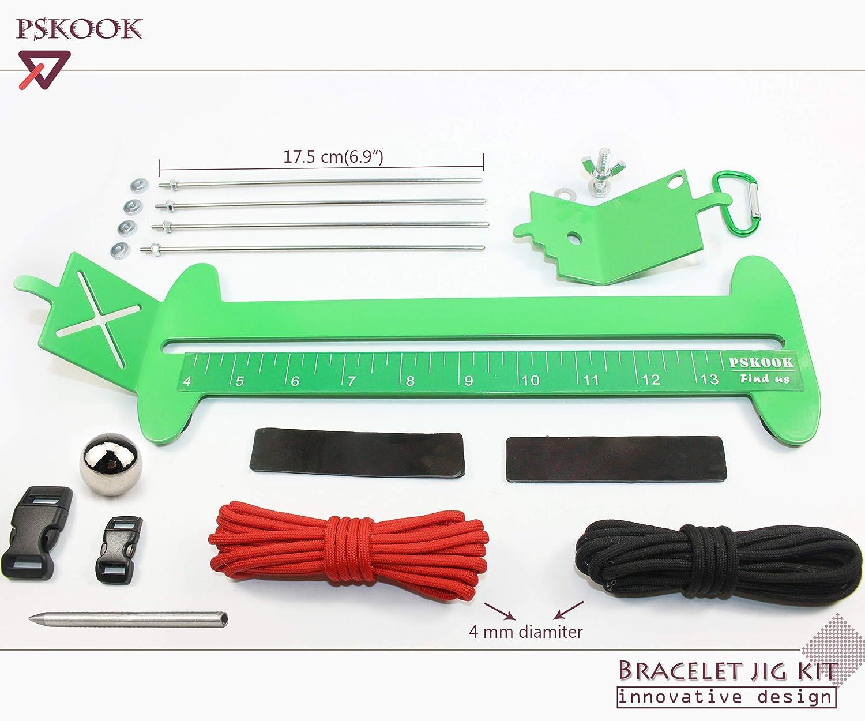 Green PSKOOK Singe Poing Jig et Paracord Jig Bracelet Maker Paracord Outil Kit R/églable longueur Tissage En M/étal DIY Artisanat Outil Maker 4/à 13 en Acier Inoxydable Accessoires