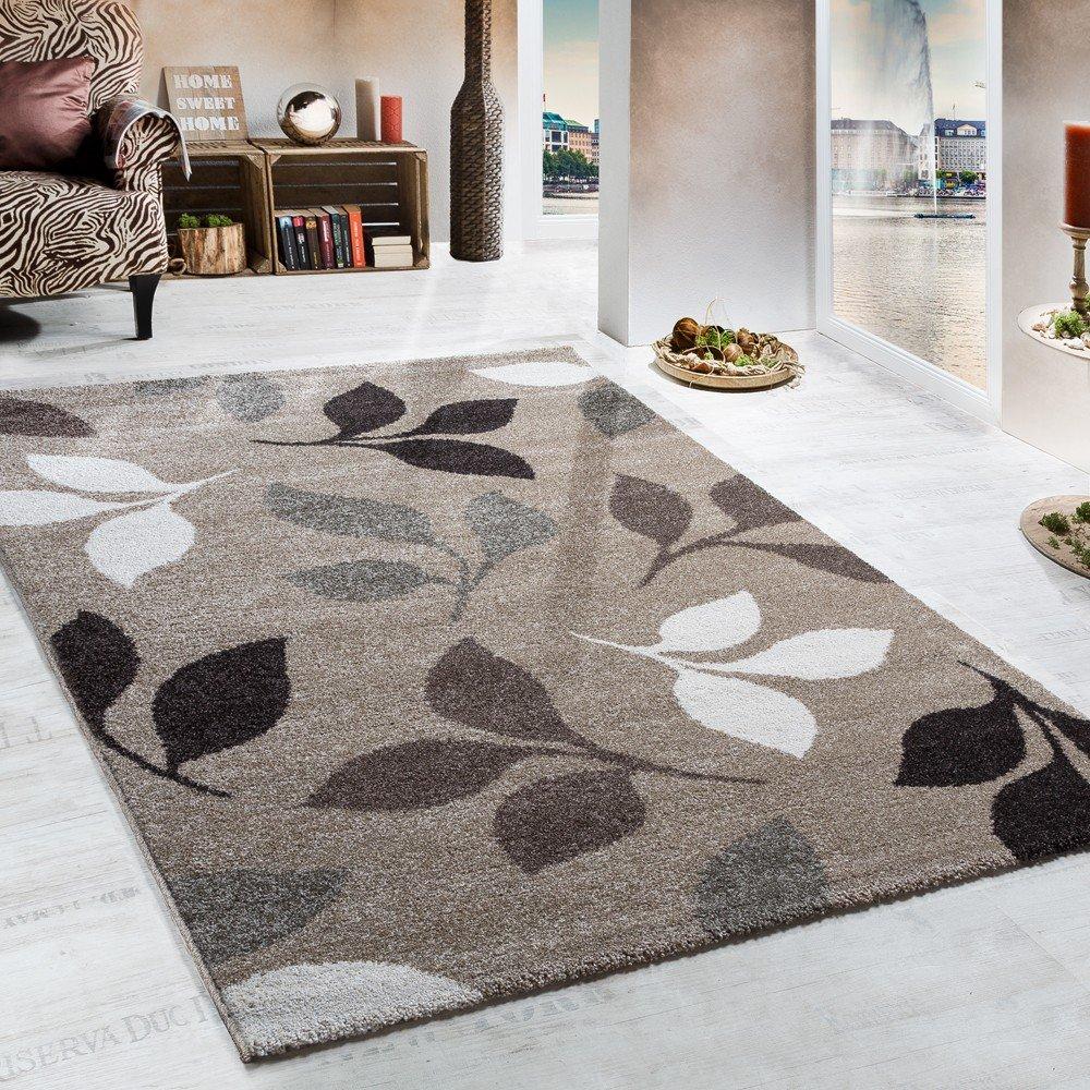 Paco Home Schwerer Webteppich Muster Floral Beige Braun, Grösse 160x230 cm