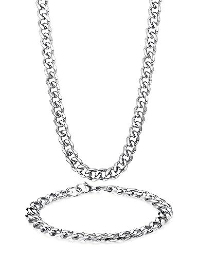 site réputé 8c6ff ec4ae BESTEEL Acier Inoxydable 8MM Collier Bracelets pour Homme ...