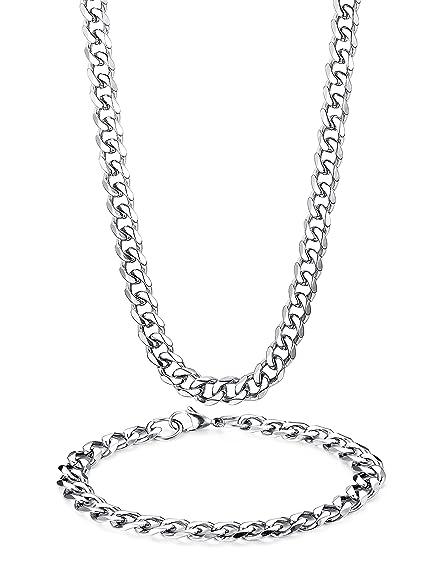 Besteel Acero Inoxidable 8MM Collar Pulseras Set para Hombre Mujer Cadena Encintado Biselado Cubano Collar 56-66 cm Pulsera 21.5cm