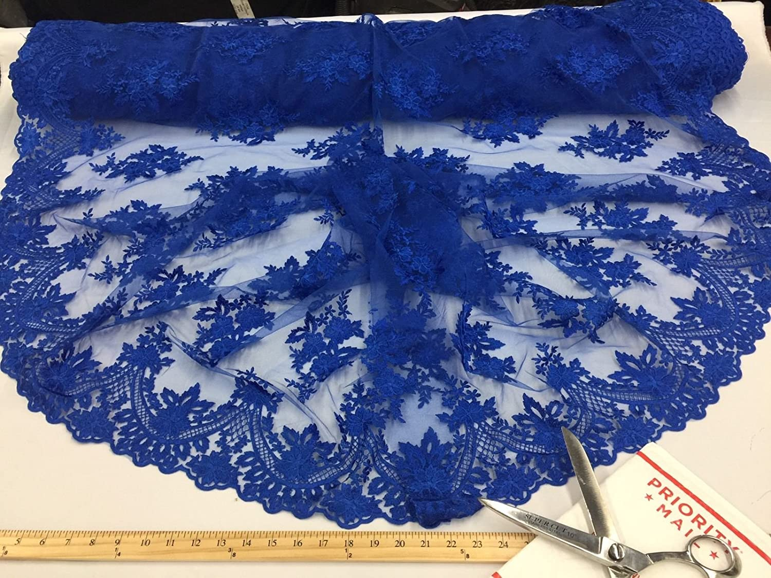Lace Fabric By The Yard - Royal Blue Embroidered Mesh Flower Bridal Wedding Dress Lace - French Design Metatron Acoustics