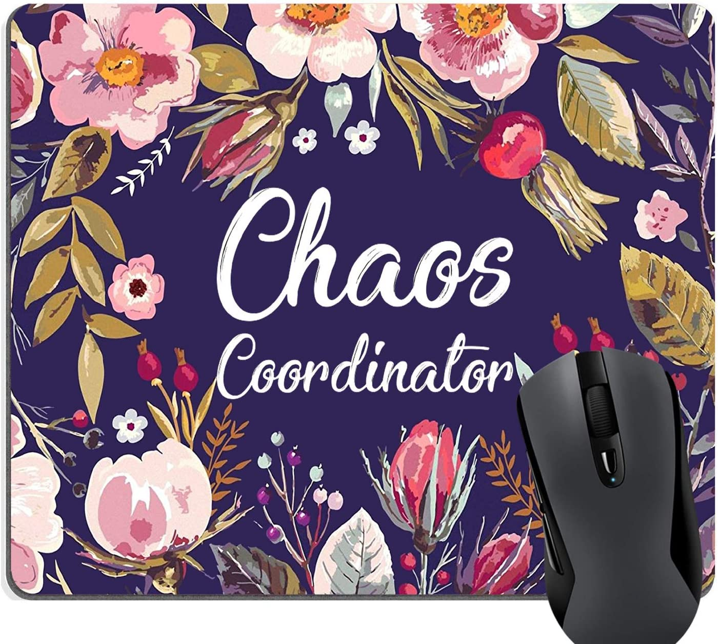 Wknoon Funny Quotes Rectangle Mouse Pad Chaos Coordinator Quote Vintage Watercolor Floral Wreath Colorful Flowers Navy Blue Print Art Mouse Pads for Computers