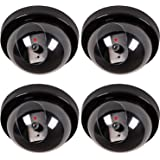 WALI Dummy Fake Security CCTV Dome Camera with Flashing Red LED Light With Warning Security Alert Sticker Decals (SD-4), 4 Packs, Black