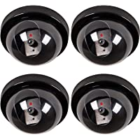 WALI Dummy Security CCTV Dome Camera with Flashing Red LED Light with Warning Security Alert Sticker Decals (SD-1), Black