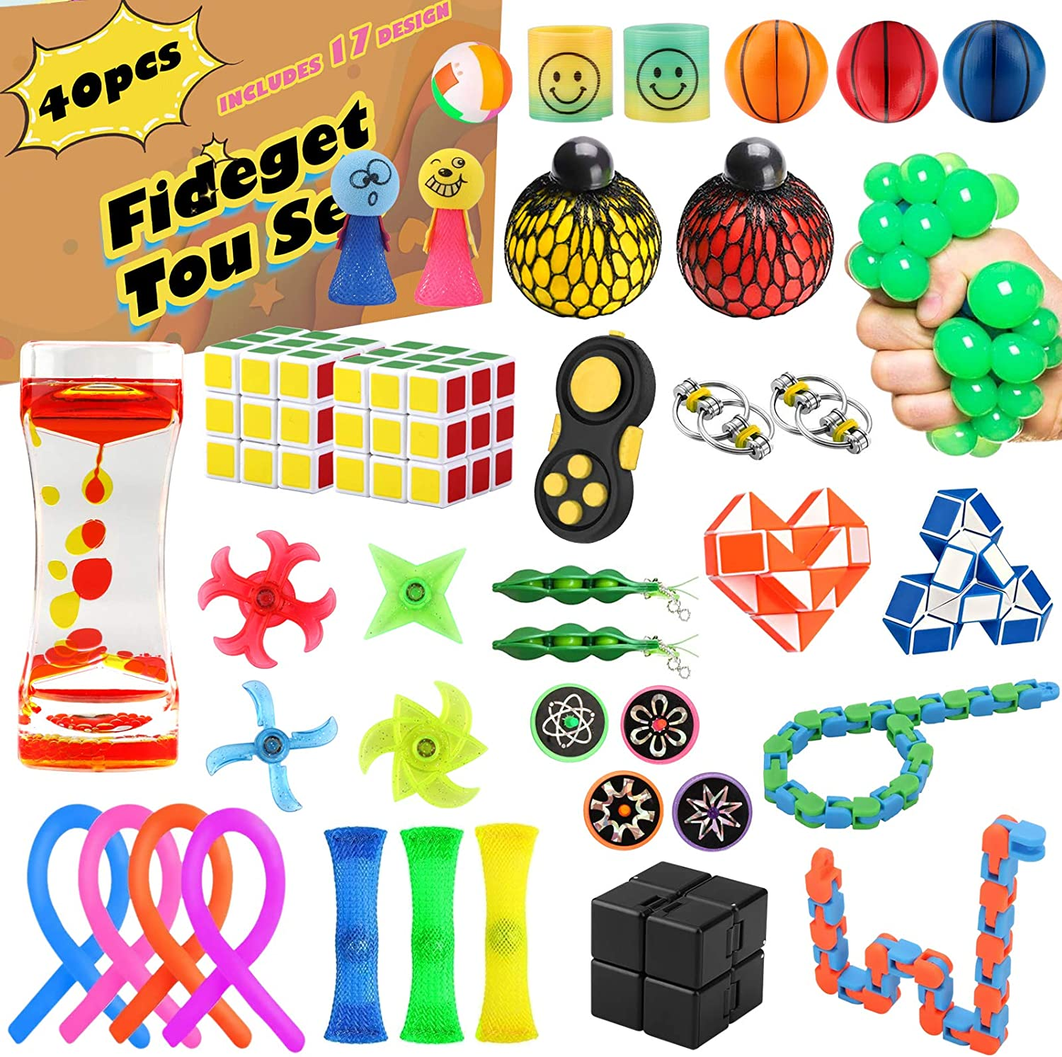 OYRGCIK 40 Pack Sensory Fidget Toys Set, Stress Relief and Anti-Anxiety Tools Bundle for Kids Adults, Hand Toys for Birthday Party Favors, Pinata Fillers, Classroom Rewards, Treasure Box Prizes