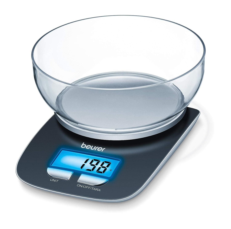 Beurer KS 25 - Balanza de cocina con bol transparente, 3 kg/1 gr, función auto-tara 704.15
