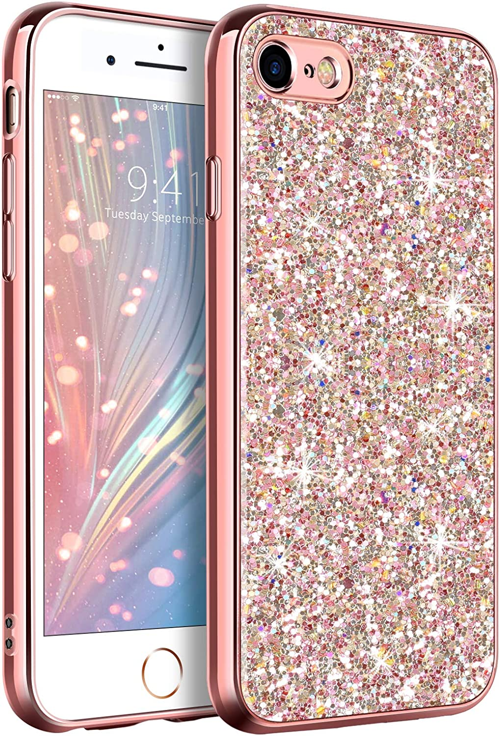 GUAGUA Compatible with iPhone SE 2020 Case iPhone 8/7 Case Glitter Sparkle Bling Shiny Phone Cases for Girls Women Slim Fit Durable Hybrid Shockproof Protective Cover for iPhone SE 2020/8/7 Rose Gold