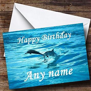 Carte Anniversaire Dauphin.Carte D Anniversaire Personnalisee De Plongee Dauphins Amazon Fr