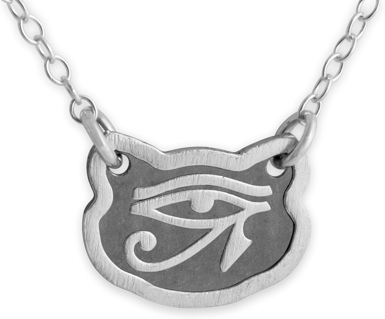 Azaggi Sterling Silver Handcrafted Feline Eye of Horus Necklace 18, Sterling-Silver