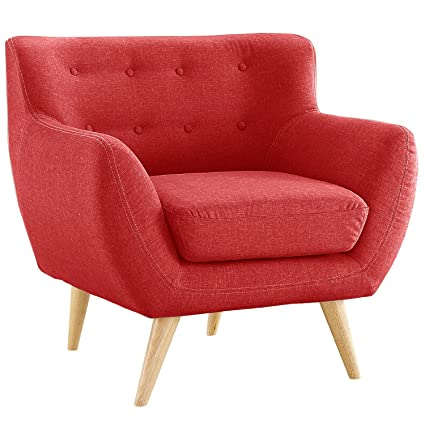 Divano Roma Furniture Modern Mid Century Style Sofa, Red, 1 Seater