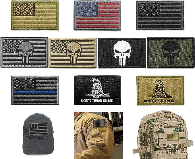 Juego de 10 piezas de parches tácticos militares de velcro con bandera estadounidense: Amazon.es: Juguetes y juegos