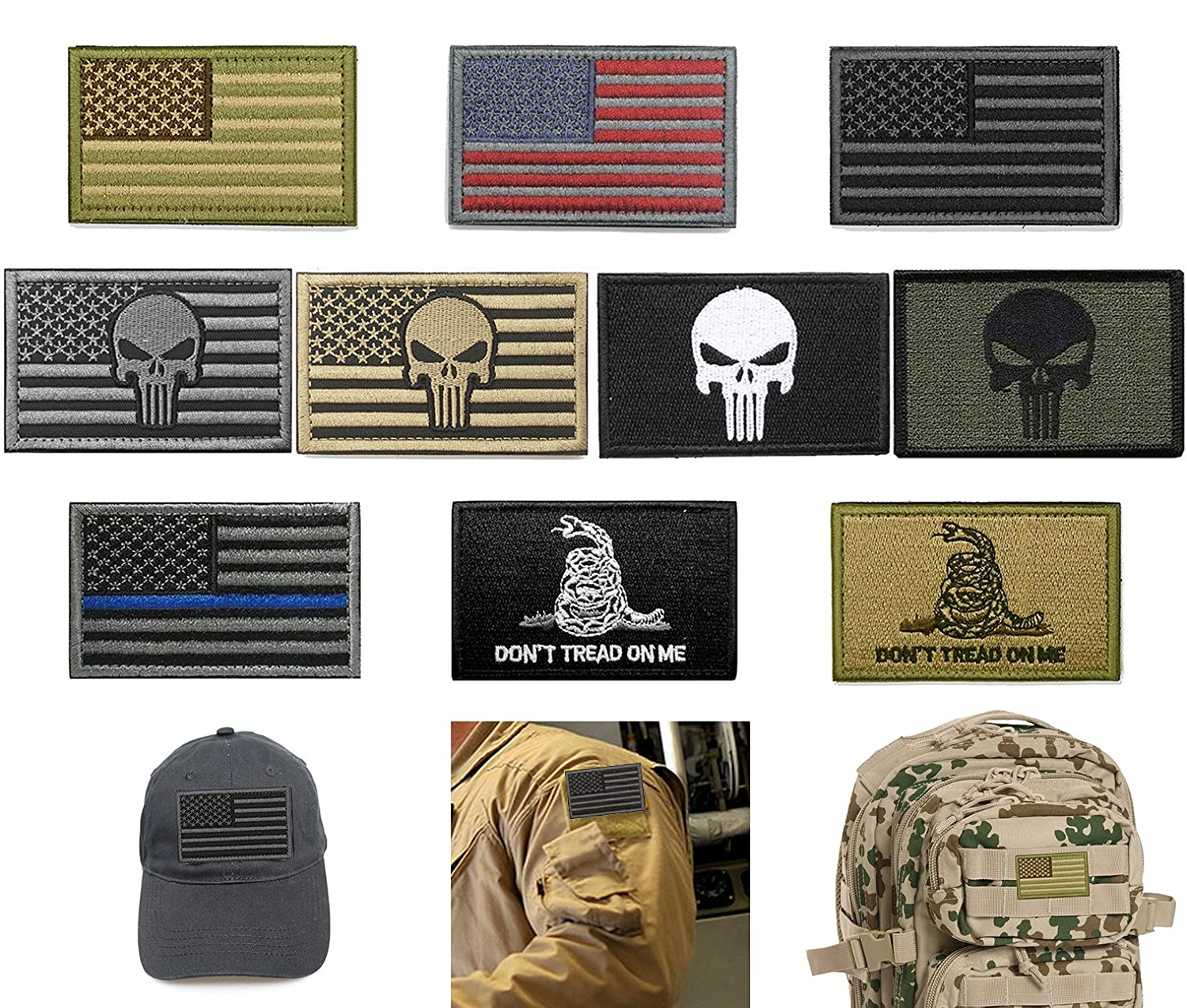 5285bb6d48dd Bundle 10 Pieces US Flag Velcro Patch American Flag Punisher Velcro Patches  Tactical Military Morale Patch Set