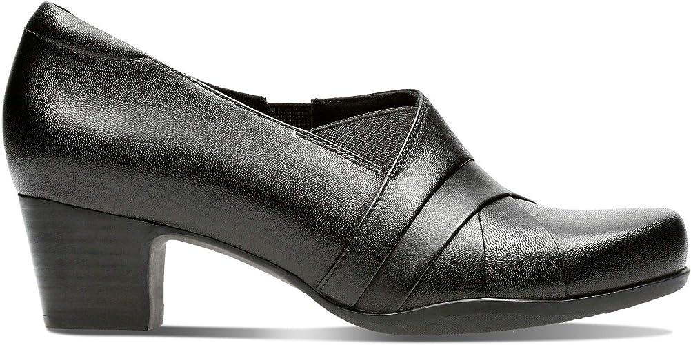 CLARKS Rosalyn Adele Ladies Mid Heel Black Leather Trouser Shoe