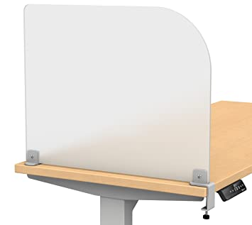 Merge Works - Separador de escritorio sujeto con abrazaderas; pantalla de con cristal esmerilado acrí