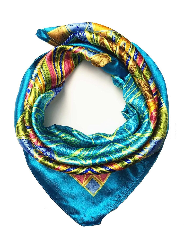 YOUR SMILE Silk Like Scarf Women's Fashion Pattern Large Square Satin Headscarf