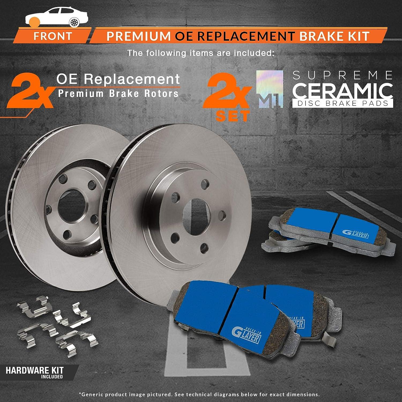 OE Series Rotors + Ceramic Pads Max Brakes Front Supreme Brake Kit Fits: 2010 10 2011 11 2012 12 Hyundai Santa Fe KM081041