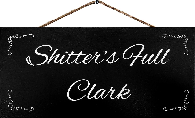 JennyGems Shitters Full Clark   Funny Bathroom Signs   Christmas Bathroom Decor   Genuine Wood Sign   Made in USA