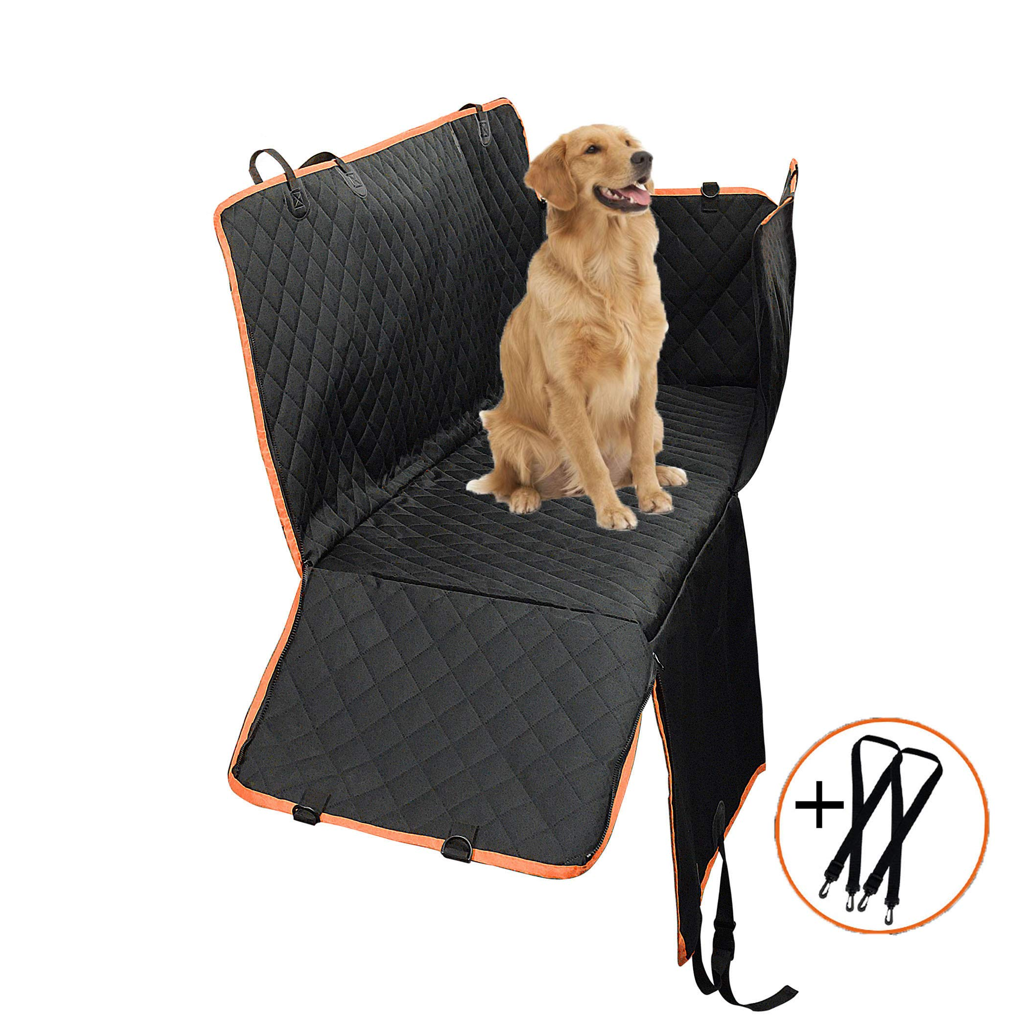 Paercute New Upgrade Dog Car Seat Cover 100% Waterproof Car Seat Dogs Side Flaps Hammock Scratch Proof & Nonslip Dog Seat Covers Back Seat Washable Dog Seat Cover Cars Trucks SUV