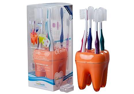 welltooth cepillos de dientes y soporte para cepillo de dientes _ naranja _ 1 juego (