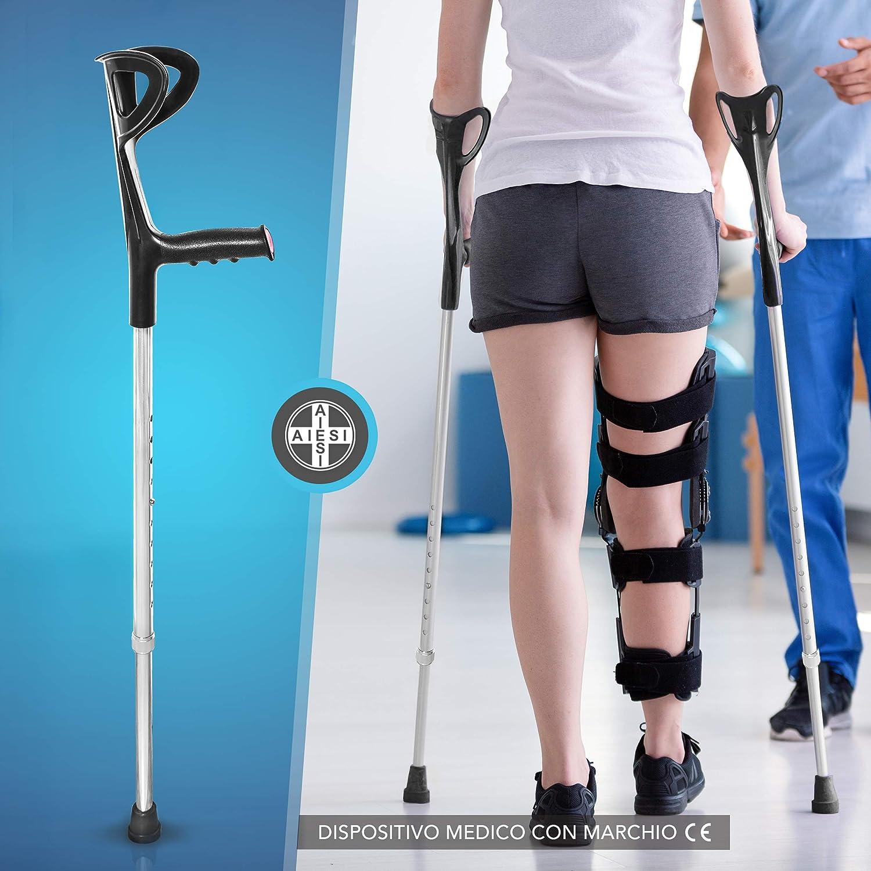 AIESI® Muleta para adulto regulables ortopédica antebrazo color negro en aluminio anodizado # Bastón canadiense # Garantía de 24 meses