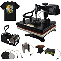 "RoyalPress 5 in 1 Professional 13"" x 18"" Color LED 360-degree Rotation Sublimation Multifunction Combo Heat Press Machine Hat/Mug/Plate/Cap/T-Shirt Black (5 in 1)"