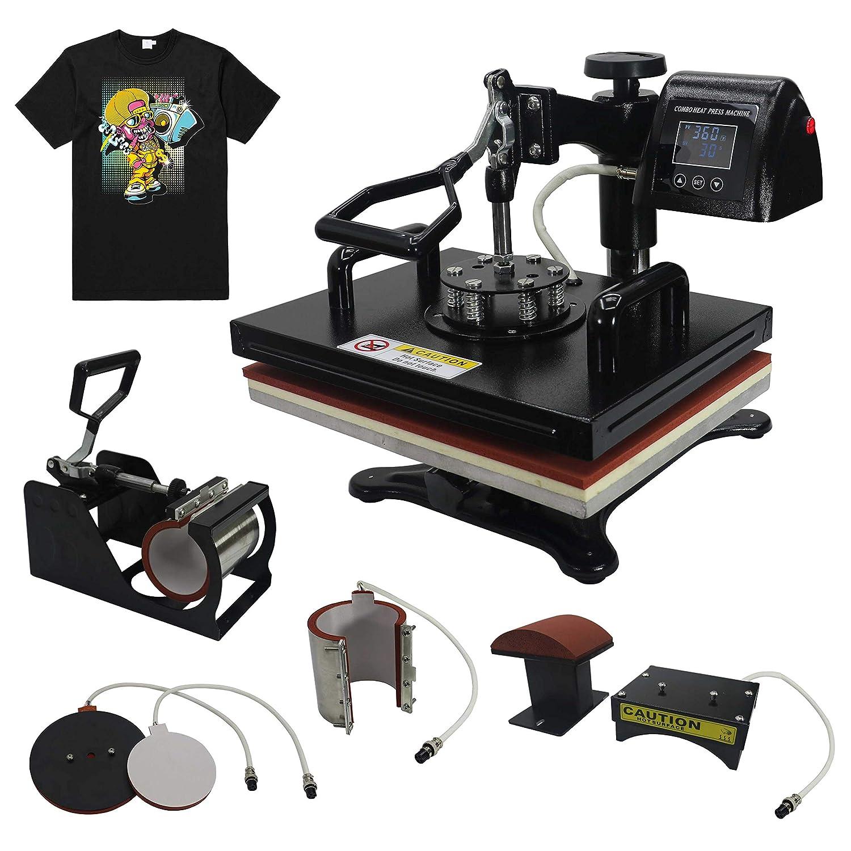 "RoyalPress 5 in 1 Professional 13"" x 18"" Color LED 360-degree Rotation Sublimation Multifunction Combo Heat Press Machine Hat/Mug/Plate/Cap/T-Shirt Black (5 in 1)"