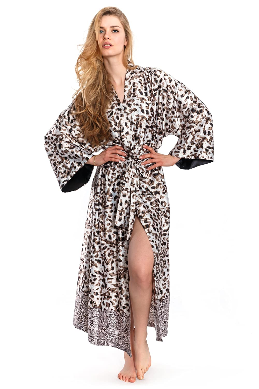 Jones New York Women's Long Leopard Print Silk Kimono Robe (Buff) Small/Medium)