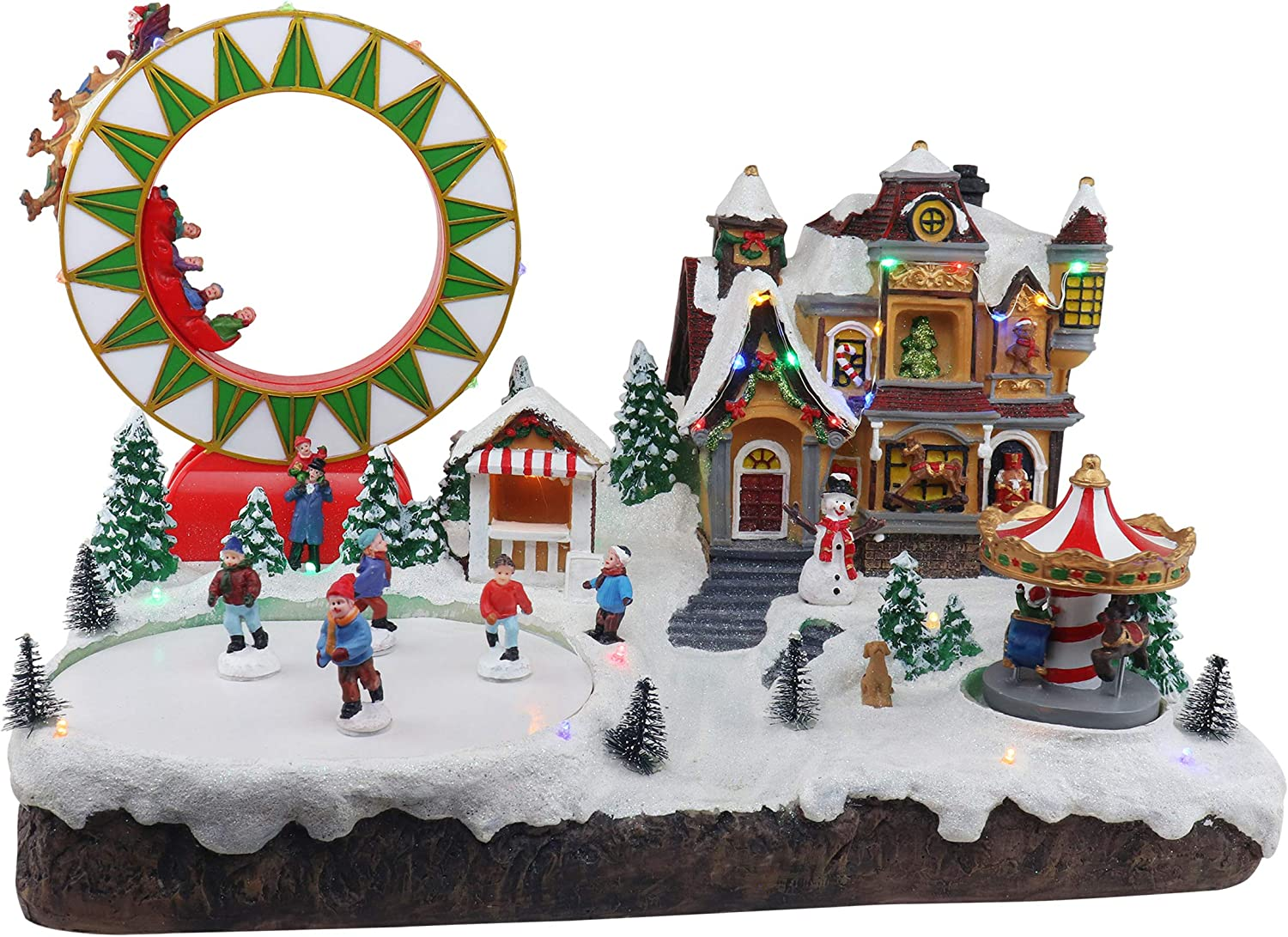 Christmas Village Grand Carnival | Animated Pre-lit Musical Snow Village with Moving Skaters, Santa Reindeer Sleigh, Merry Go Round & Ferris Wheel | Christmas Indoor Decoration & Christmas Display