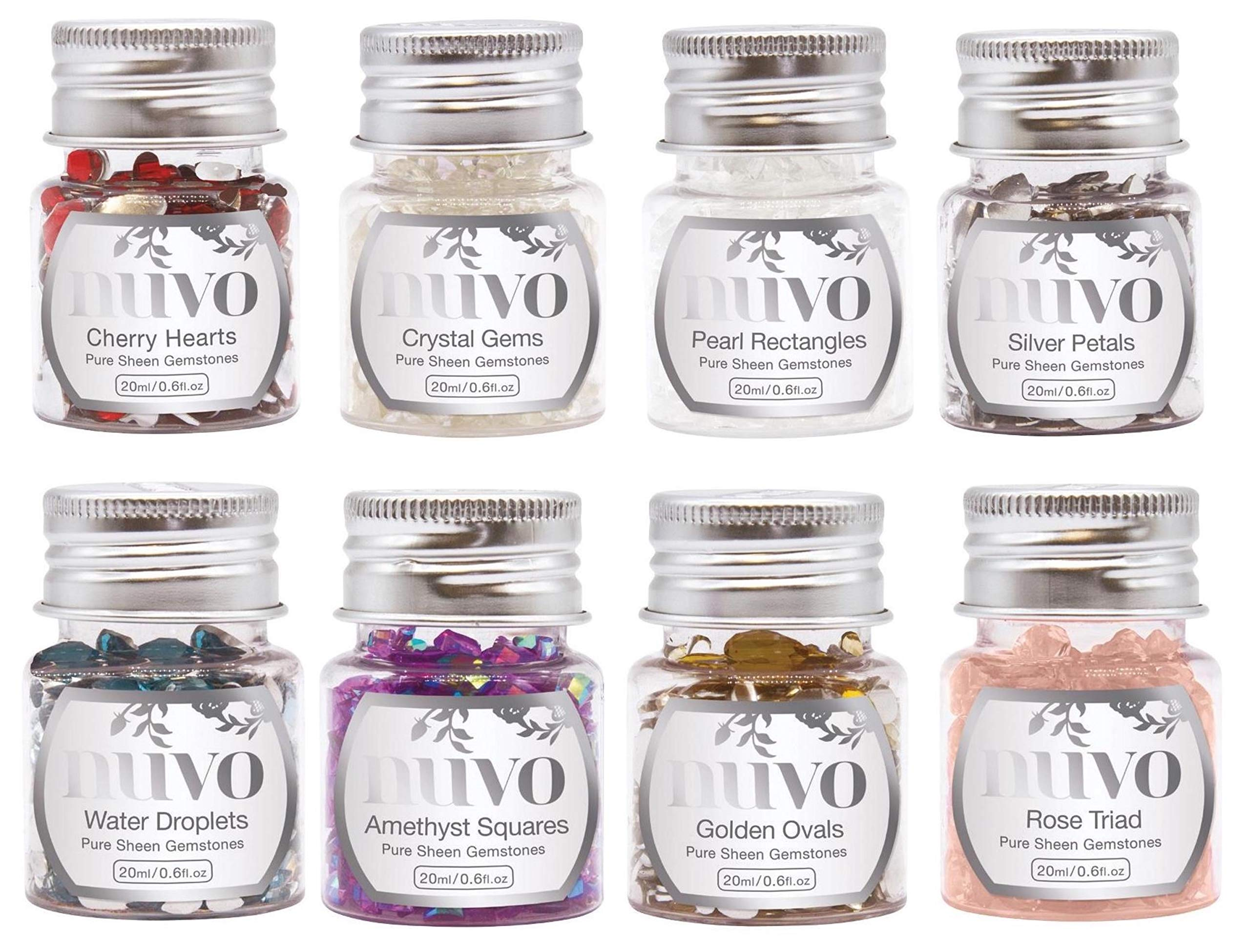 Nuvo by Tonic Studios - Pure Sheen Gemstones, 8 Jars, 20 ml Each, 8 Colors and Shapes