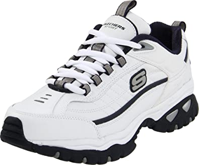 18f96be3 Skechers Men's White and Navy Sport Energy Afterburn Lace-up Sneaker - 9 D (
