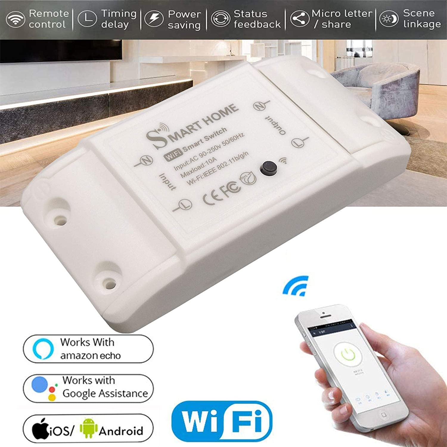 WiFi Smart Light Switch for Smart Home,Devices Compatible with  Alexa and Google Home Assistant and IFTTT,Wireless Voice or Remote Control Home Appliances Dimmer 1