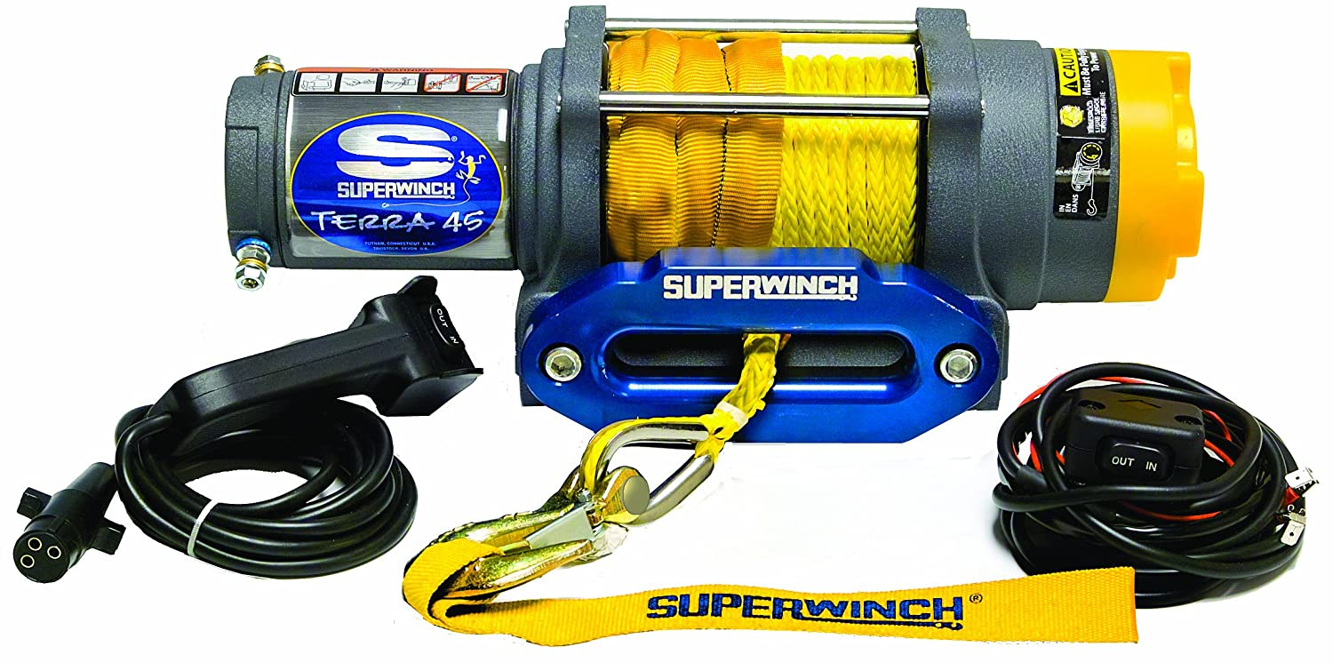 Superwinch 1145230 Terra 45 4500-Pound/2046 kg single line pull with hawse,  handlebar mnt toggle, handheld remote, and synthetic rope, Automotive -  Amazon ...