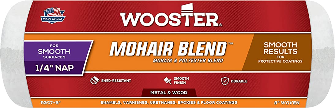 Wooster Brush R207-9 Mohair Blend Roller Cover 1/4-Inch Nap, 9-Inch