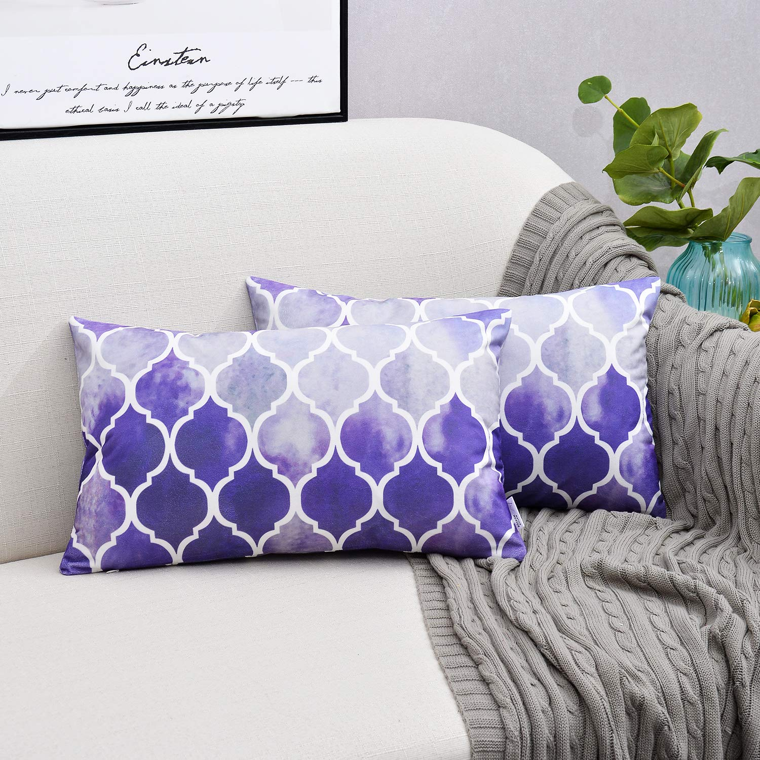 NATUS WEAVER Pack of 2 Cozy Throw Pillow Cases Covers Couch Bed Sofa Manual Hand Painted Colorful Geometric Trellis Chain Print 24 X 24 Inches Main Grey Purple Eggplant NWUSCRLX2-6060C07