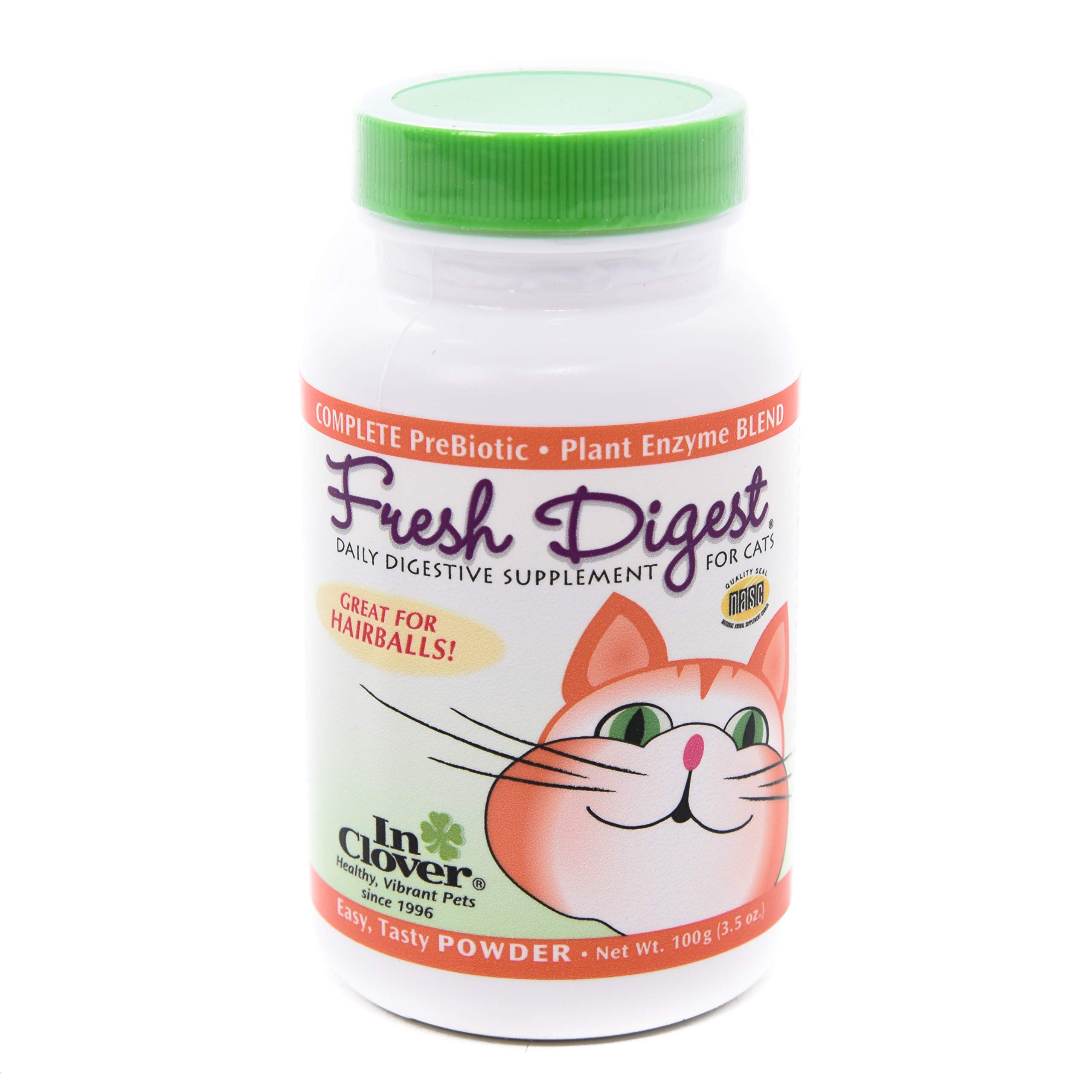 In Clover Fresh Digest Daily Digestive Aid and Immune Support Supplement for Cats, Natural Prebiotic and Enzyme Powder for Healthy Stools, Hairball Control, Stop Litterbox Odor, Works Fast 100g/3.5oz by In Clover