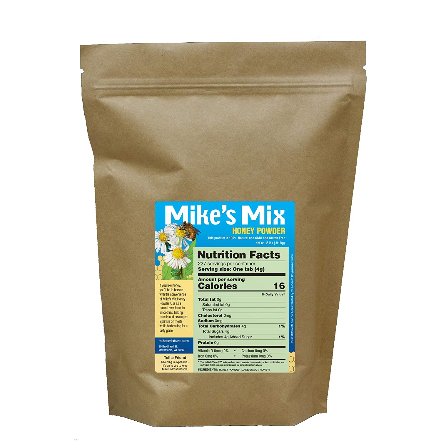 Mike's Mix Honey Powder, 2lb. Natural, Dehydrated