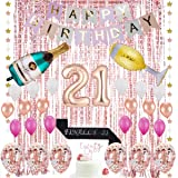 21st Birthday Decorations| 21 Birthday Party Supplies | 21 Cake Topper Rose Gold | Finally 21 Sash|Rose Gold Confetti…