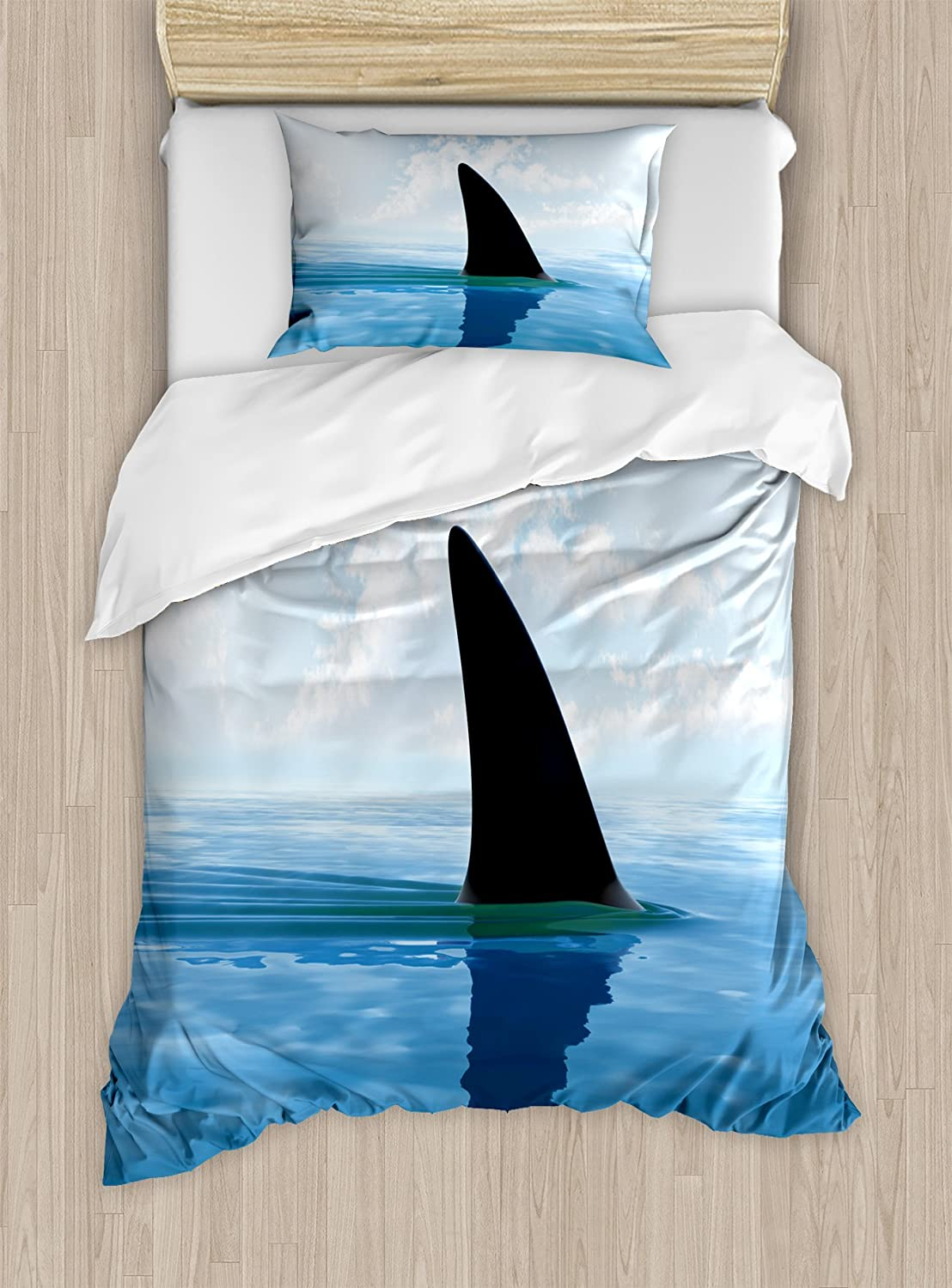 Ambesonne Shark Duvet Cover Set, Shark Fish Fin Over The Sea Surface Danger Caution Themed Picture, Decorative 2 Piece Bedding Set with 1 Pillow Sham, Twin Size, Blue