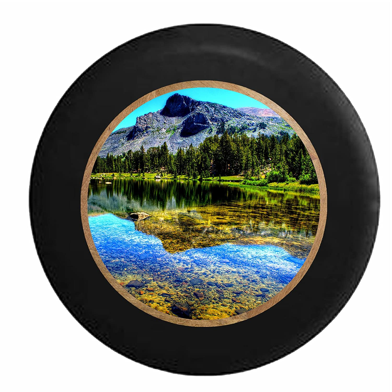 Mountain Backdrop Jeep RV Camper Spare Tire Cover Black 29 in Full Color Clear Smooth Lake Water Pine Forest