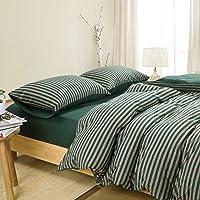 Duvet Cover Set 4 Pcs Set (1 Duvet Cover, 1 Flat Sheet, 2 Pillowcases) Bedding Set Comfortable Pillow Shams Breathable- Dark Green Stripe