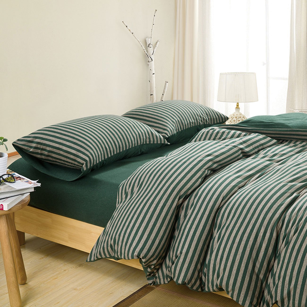 Duvet Cover Set Full Size 4 Pcs Set (1 Duvet Cover, 1 Flat Sheet, 2 Pillowcases) Bedding Set Comfortable Pillow Shams Breathable- Dark Green Stripe COLORSUM KF-LSZ4-1496