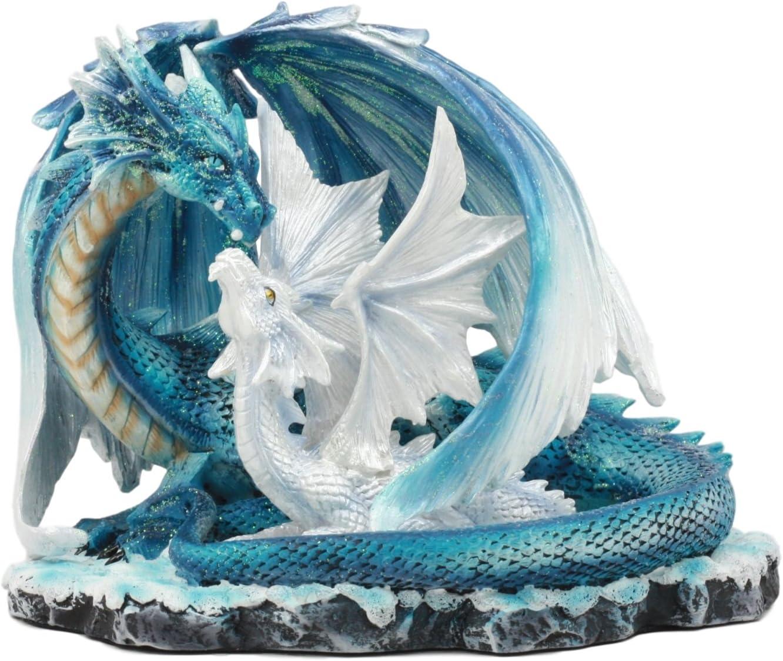 Ebros Nature's Nurture Mother Dragon Adoring White Baby Dragon Statue Home Decor Resin Fantasy Dragon Family Sculptural 6.75